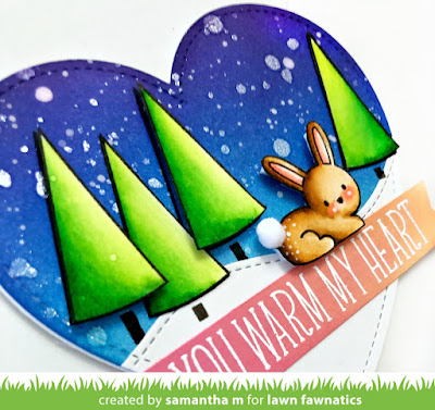 You Warm My Heart Card by Samantha Mann for Lawn Fawn's Fawny Holiday Week, Lawn Fawn, Distress Inks, Night Sky, Ink blending, christmas, christmas card #lawnfawn #fawnyholidayweek #inkblending #cards, #christmas