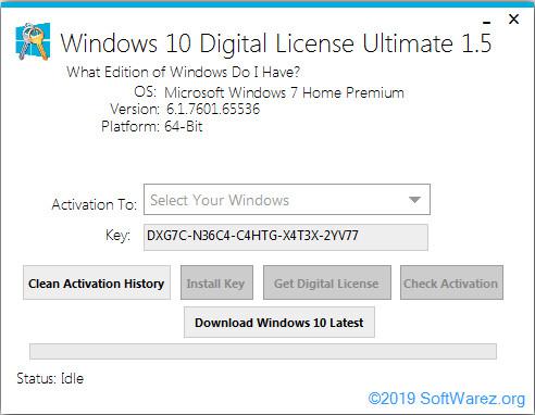 Screenshot Windows 10 Digital License Ultimate 1.5