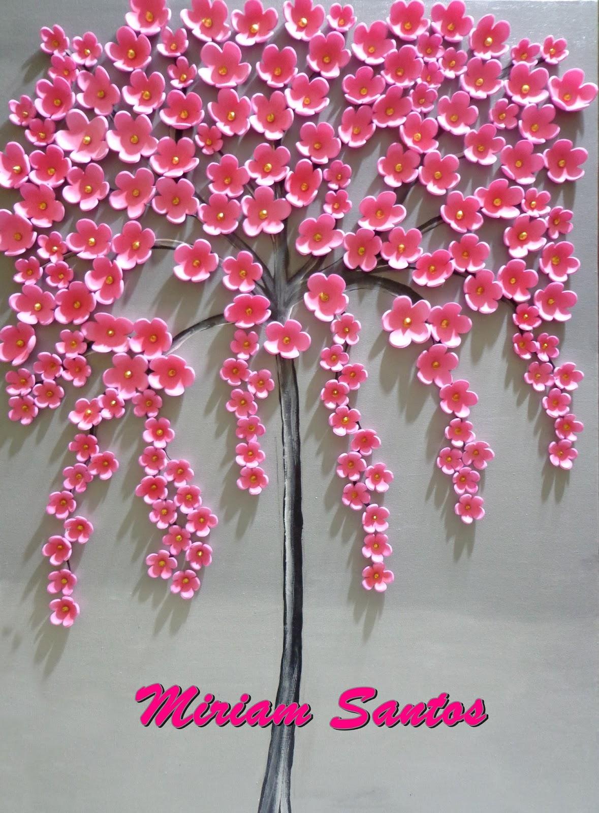 Fazendo Artes Tela Com árvore Com Flores De Pessegueiro Em Eva Diy
