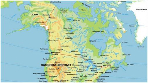 Wilayah Benua Amerika dalam peta