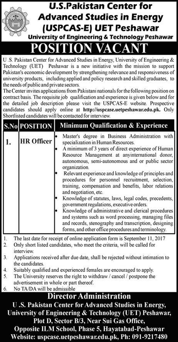 Jobs In University Of Engineering And Technology Peshawar 20 Aug 217
