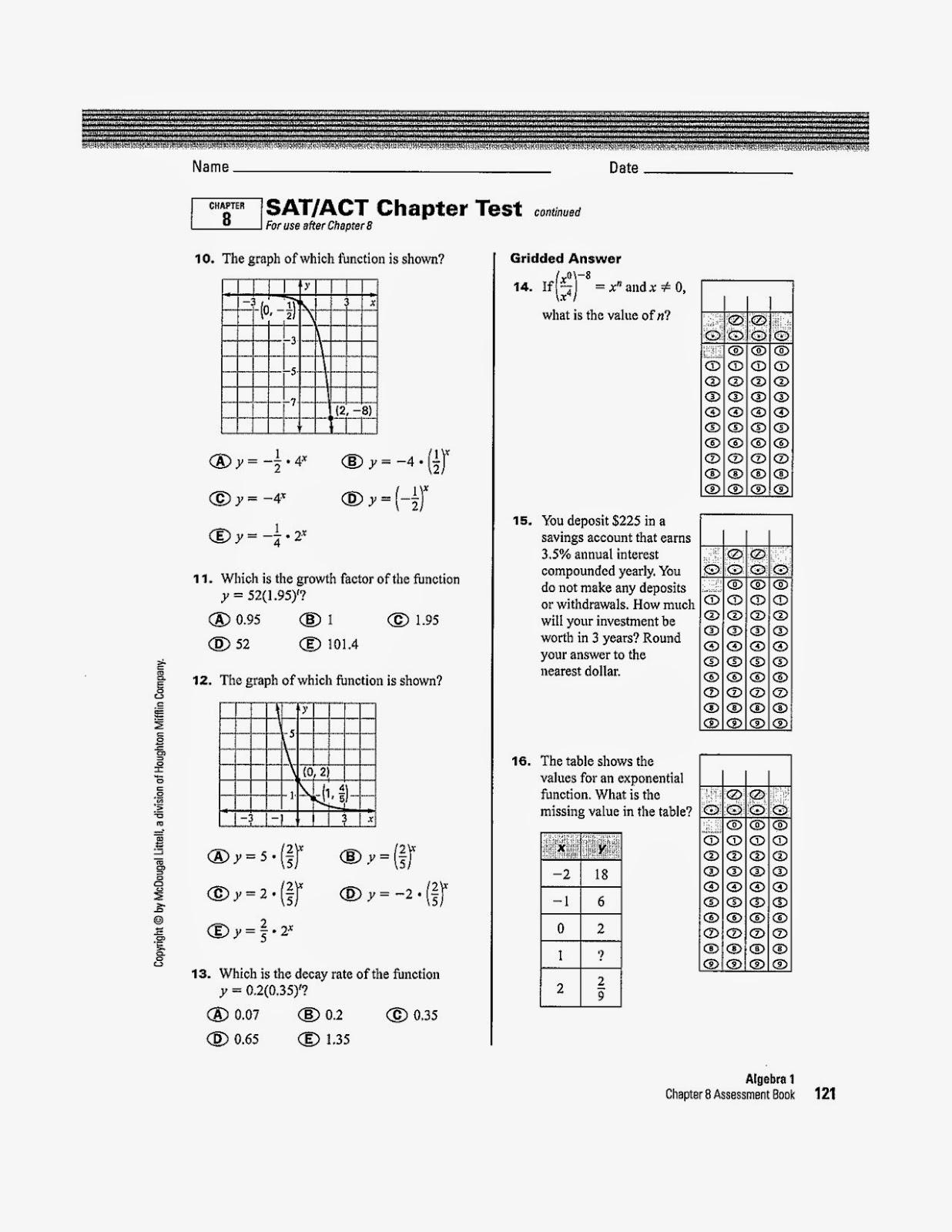 Comprehensive 8th Grade Math Practice Test Printable