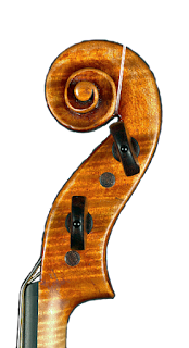 Copy of a Guarneri Del Gesù Violin by Nicolas Bonet Luthier Head - Violon en copie de Guarneri del Gesù Tete