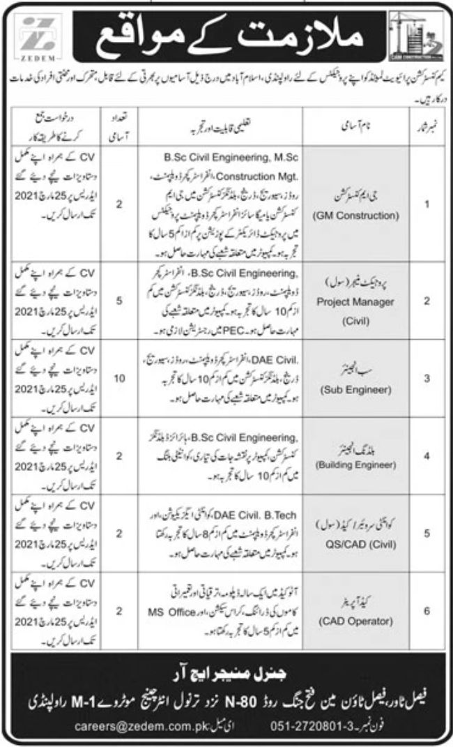 CAM Construction Private Limited Jobs March 2021   Latest Jobs   Engineering Jobs