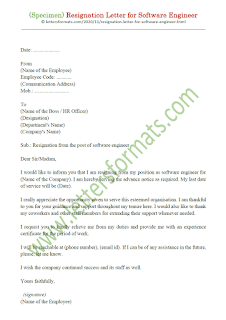 resignation letter sample for software engineer