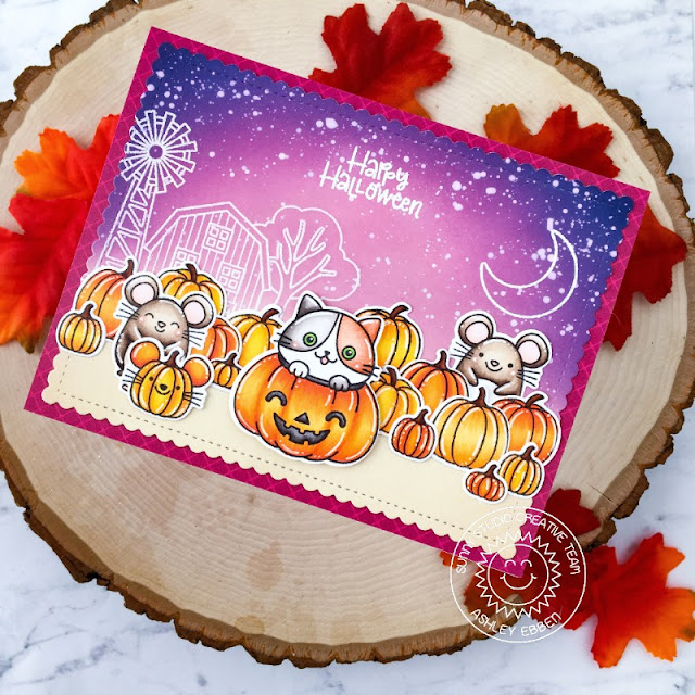 Sunny Studio Stamps: Scaredy Cat Farm Fresh Frilly Frame Dies Harvest Mice Halloween Card by Ashley Ebben