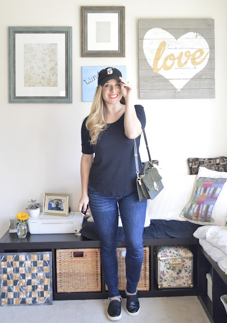Black Mariners Baseball Hat // Black Tee // BTS Jeans // Green Leather Crossbody Zara // Vince Slip ons // Peplumsandpie.com