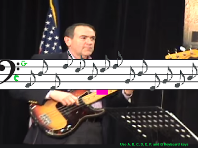 Mike Huckabee bass guitar staff music sheet minigame game The Wonderful 1237