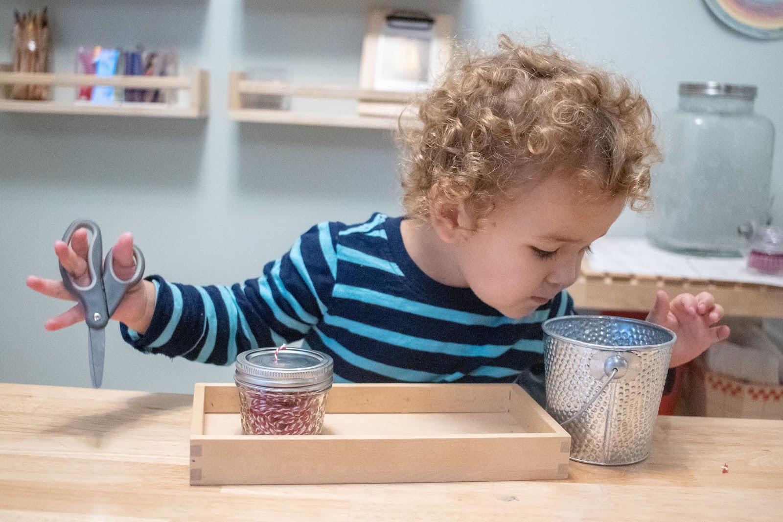 An easy Montessori inspired snipping work for toddlers.