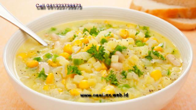 Resep sup jagung-nasi box walini ciwidey