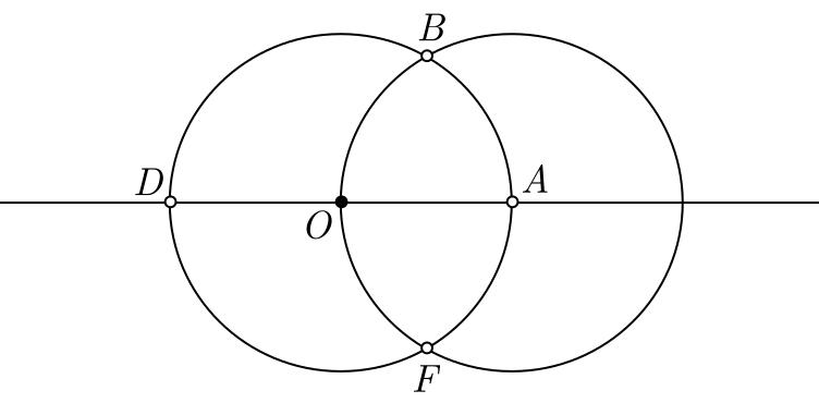 Construção geométrica de um hexágono regular - etapa 3