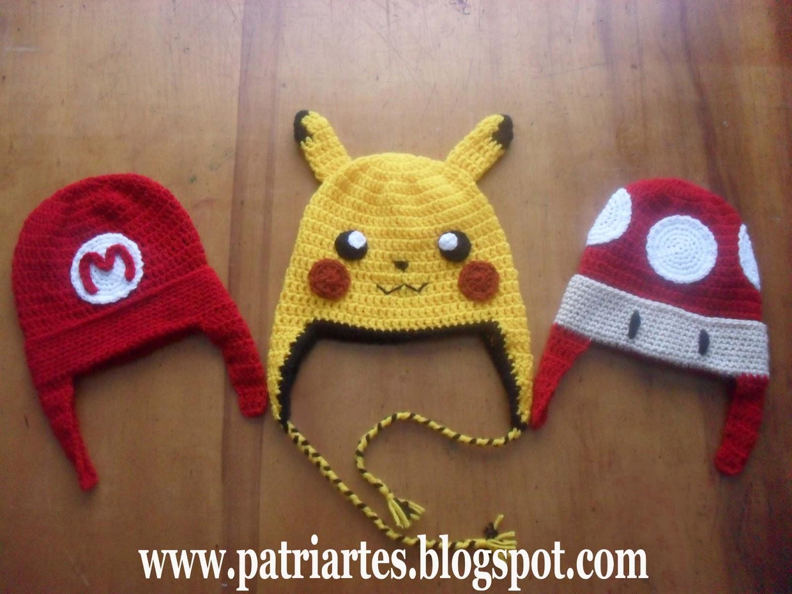 Patri Artes  Toucas Pikachu e Super Mário 19690b70a12