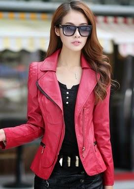 Gambar Jaket Kulit Wanita Merah Muda Pink