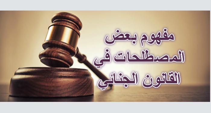 شرح  مجموعة من المصطلحات المهمة في القانون الجنائي