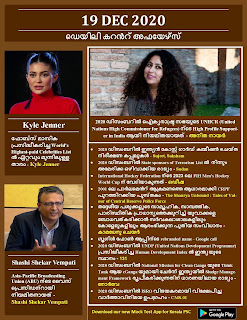 Daily Malayalam Current Affairs 19 Dec 2020