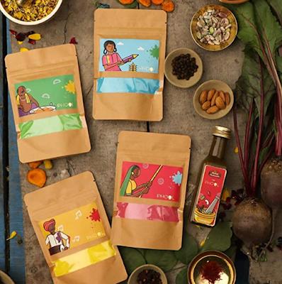 Phool Organic Gulaal Pack of 4 Organic Colors and Mishrambu Premium Thandai
