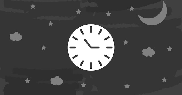 graphic with clouds, a moon, stars, and a clockface