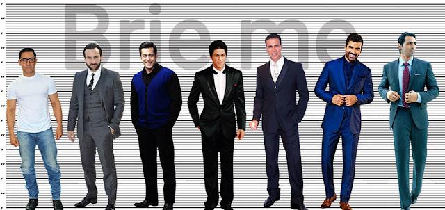 Aamir Khan, Saif Ali Khan, Salman Khan, Shahrukh Khan, Akshay Kumar, John Abraham and Arjun Rampal Height Comparison
