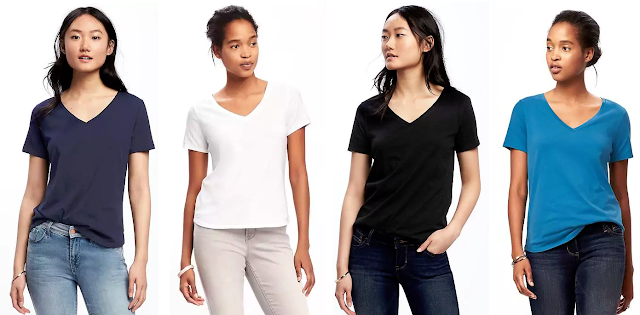 Old Navy EveryWear Relaxed V-Neck Tee $4 (reg $13)