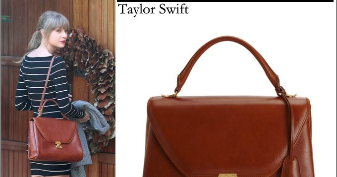 What She Wore Taylor Swift With Brown Leather Satchel