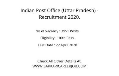 India Post Latest Recruitment 2020 | 3951 Posts Latest Post Office Recruitment 2020 UP.