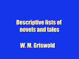 Descriptive lists of novels and tales