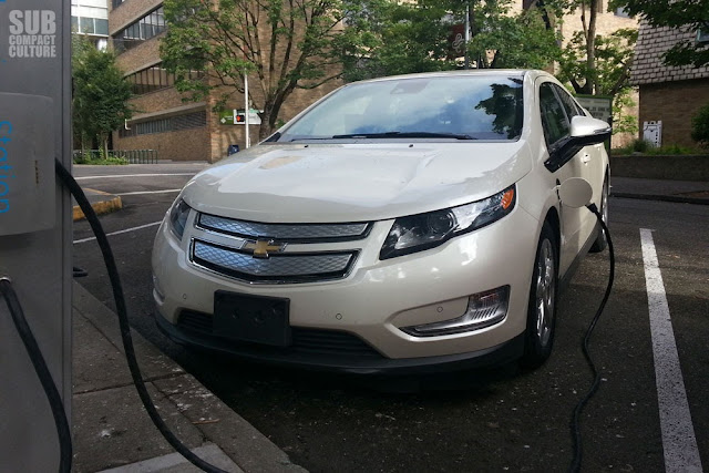2013 Chevrolet Volt charging at Portland Oregon's Electric Avenue