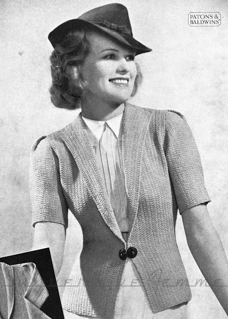 The Vintage Pattern Files: Free 1930s Knitting Pattern - Noreen Jacket