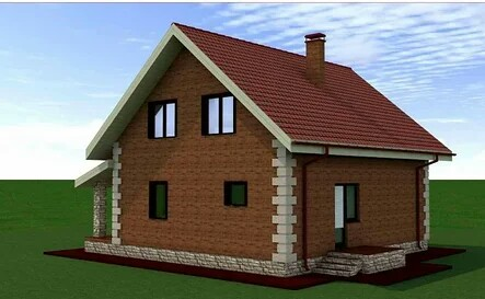 Project of a house with an attic for subsequent construction