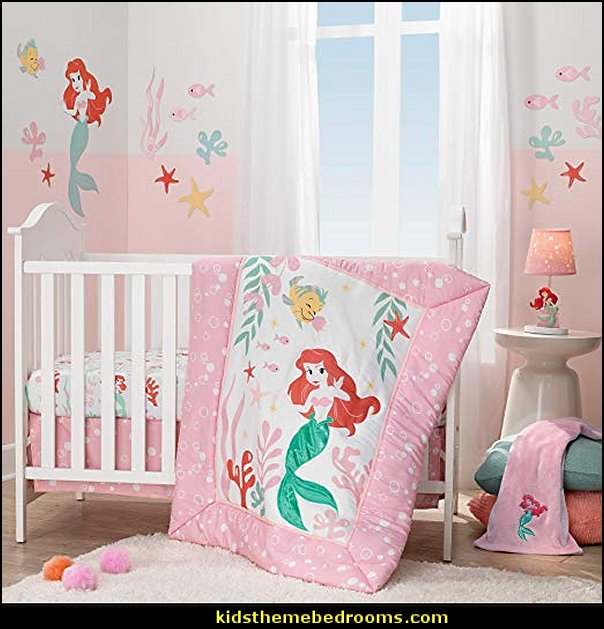 Ariel's Grotto Crib Bedding Set  Little Mermaid Ariel  Theme Bedroom - Mermaid decor - Disney The Little Mermaid decor - mermaid bedroom decor ariel themed -  Disney Princess Ariel Furniture - Little mermaid princess Ariel Under the sea -  Disney Ariel Sea Princess disney ariel room decor - ariel themed ariel wallpaper mural