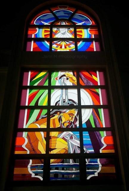 Glass painting illustration,Velankanni church, Tamil Nadu, India