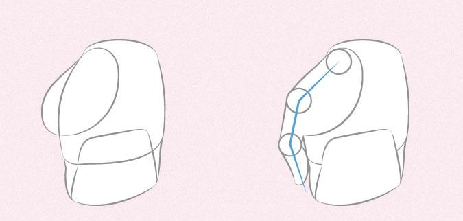 Anime memegang tas tangan proporsi jari dan ibu jari