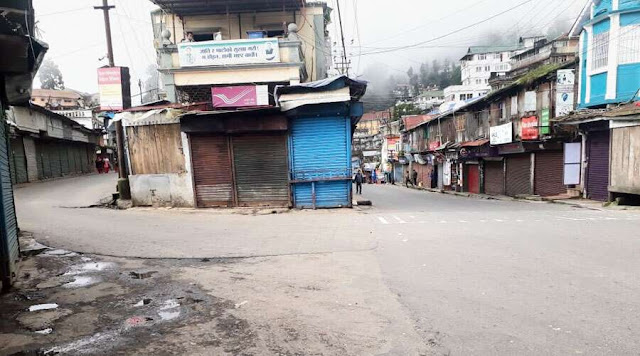 A deserted Chowk Bazar in Darjeeling during Lockdown