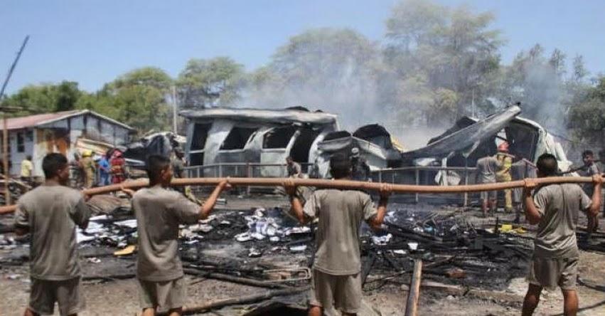 Voraz incendio deja sin aula a más de 2 mil escolares del colegio Nuestra Señora de Fátima en Piura