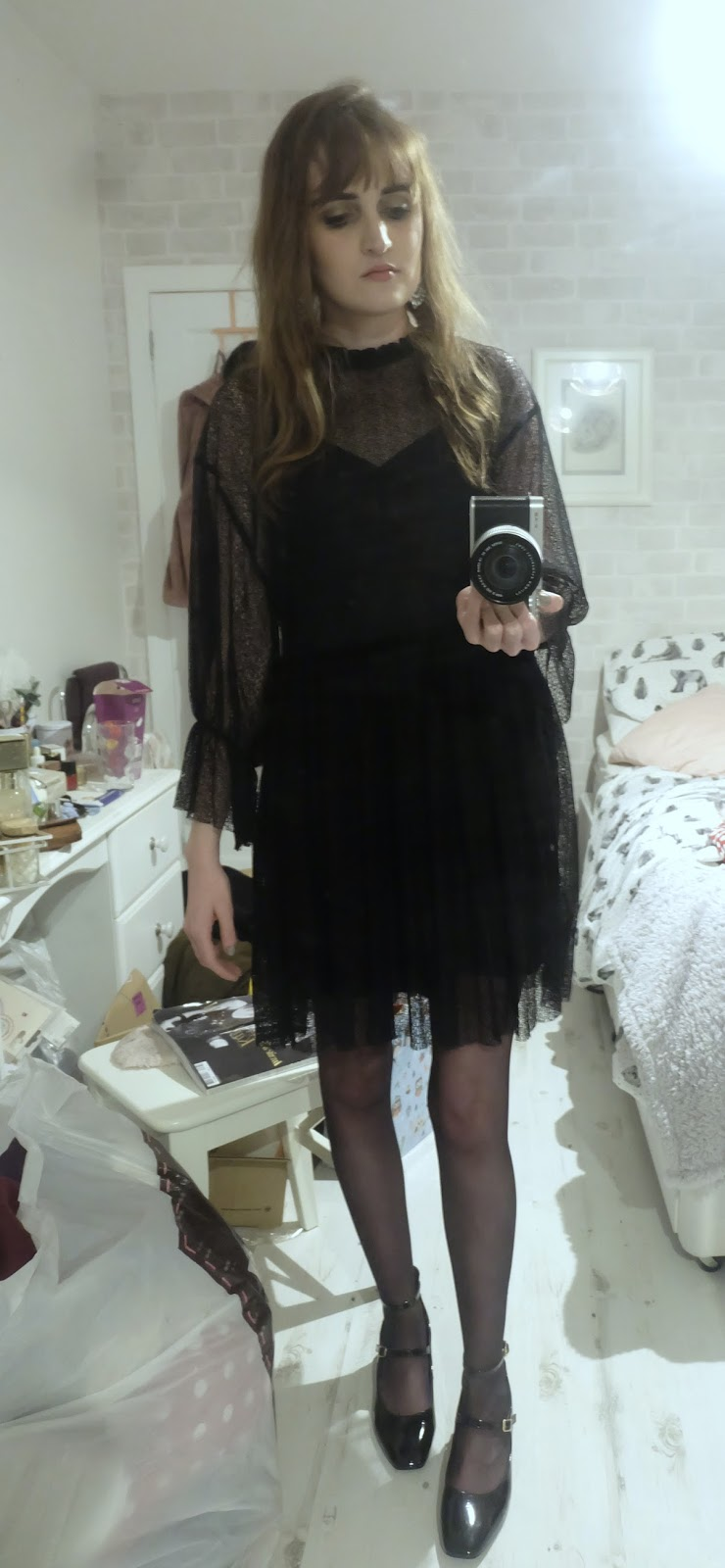 raid alexus shoes, h&m sparkly earrings, zara black lace dress, new year's eve outfit