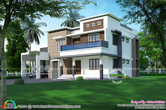Flat roof house in an area of 2892 square feet