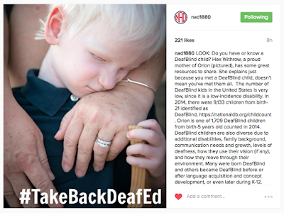 (Image description: A screenshot of National Association of the Deaf's Instagram account, @NAD1880, displaying a photo of a 4 year old white-haired, caucasian DeafBlind boy hugging his mom's hand with his head. Only his head, left hand which is holding a wooden toy, and his mom's hands are visible.)