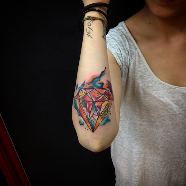 Watercolor Diamond Tattoos