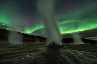 Night, Sky, Stars, Steam, Gas and Aurora over Hverir