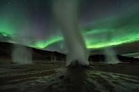 Night, Sky, Stars, Steam, Gas and Aurora over Hverir