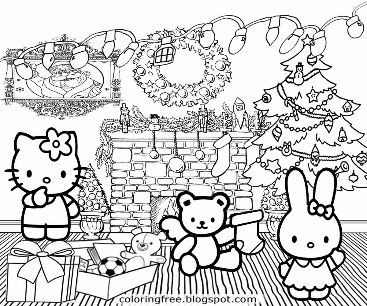 Lets Coloring Book Cute Hello Kitty Christmas Printable