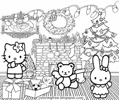 holiday tree decor cute hello kitty christmas card ideas printable girls pretty coloring pictures