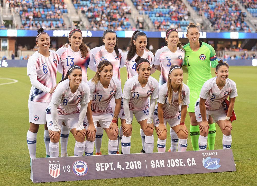 Formación de selección femenina de Chile ante Estados Unidos, amistoso disputado el 4 de septiembre de 2018