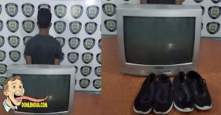 Detenido por robarse un televisor y dos pares de zapatos