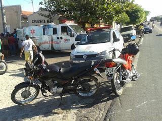 Adolescente e idoso saem feridos em acidente de transito na BR 405, zona urbana de José da Penha