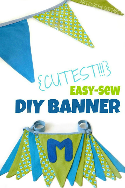How to sew a cute fabric pennant banner. An easy, step-by-step tutorial with lots of photos for all sewing enthusiasts. A perfect beginner sewing project!