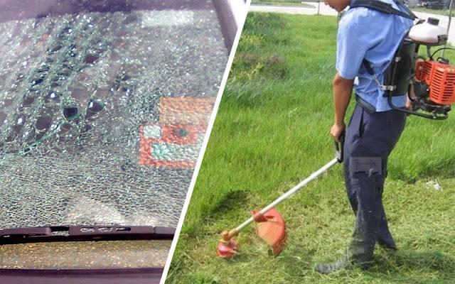 Apa Perlu Buat Bila Cermin Kereta Anda Pecah Disebabkan Terkena Batu Daripada Aktiviti Potong Rumput?