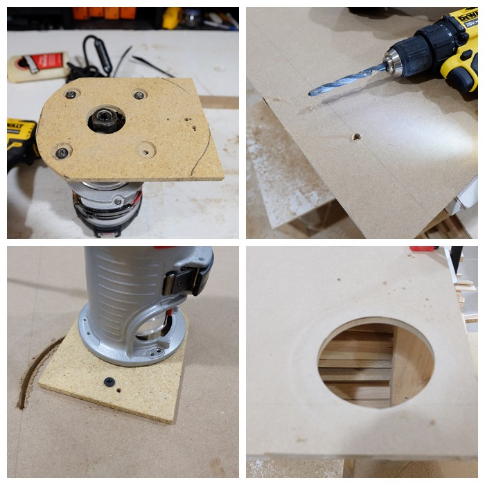 cutting a circle with a palm router
