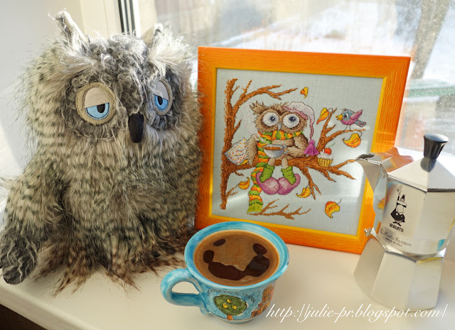 Марья Искусница 07.002.08 Утренний кофе, вышивка крестом, сова, осень, кофе