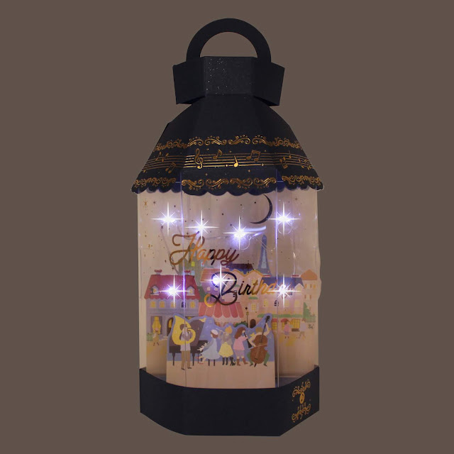 Happy Birthday Lantern Lights and 2 Melodies Pop Up Greeting Card